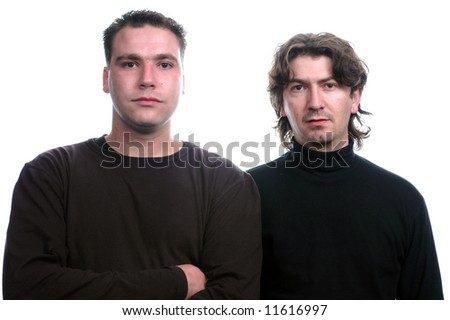 two young mens dressed with casual clothes