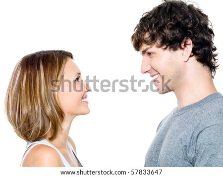 Two young people dating - isolated on the white