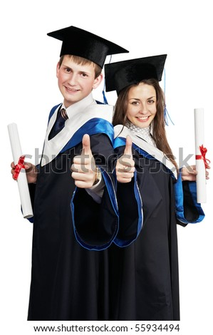 Two young smiley graduate students in gown with diploma isolated