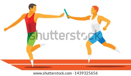 two young strong student athletes run relay race in athletics competitions at the stadium