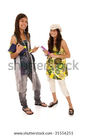 two young student sisters ready to go back to school