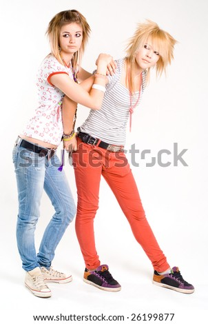 Two young trendy punk girls