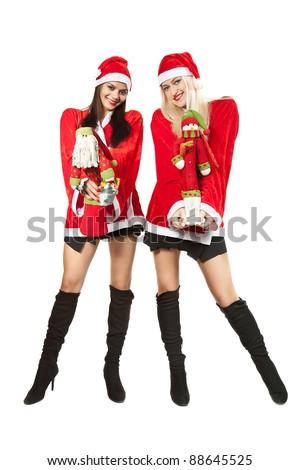 two young woman in a suit of Santy
