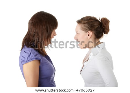 Two young womans arguing, isolated on white background