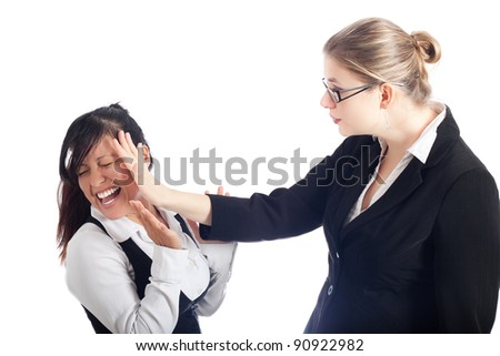 Two young women conflict, isolated on white background.