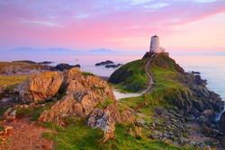 Twr Mawr Lighthouse, Llanddwyn Island at sunset, Anglesey, North Wales, UK.