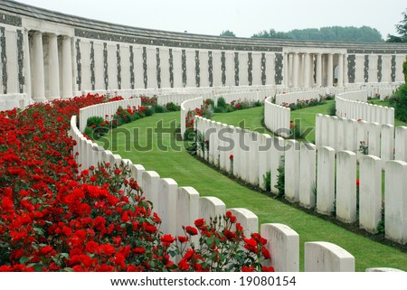 Tyne Cot brittish memorial cemetery of the first world war in Passendaele (Flanders Fields) Stock photo ©
