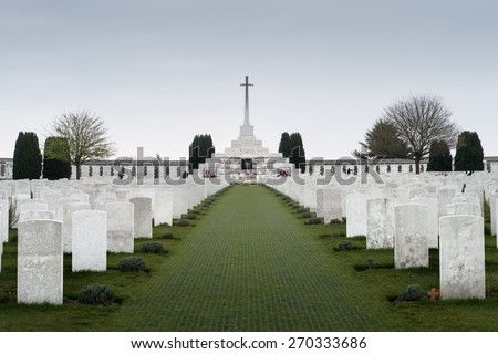Tyne Cot World War One Cemetery, the largest British War cemetery in the world. near Ypres, Flanders, Zonnebeke, Belgium Stock photo ©