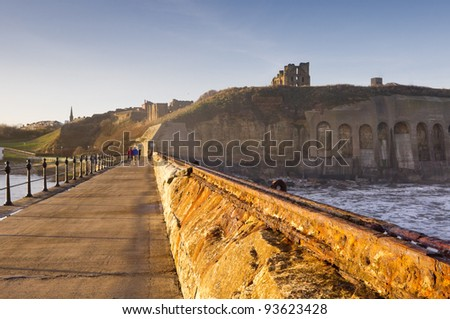 Tynemouth priory and castle from the north pier / Looking back to land from the north pier with the priory and Tynemouth beyond