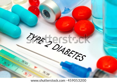 type 2 diabetes. Treatment and prevention of disease. Syringe and vaccine. Medical concept. Selective focus #459053200