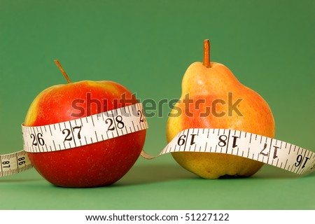Types of female body shape. Apple and Pear with type measure on green background. - stock photo