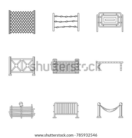 Types of fence icons set. Outline set of 9 types of fence  icons for web isolated on white background