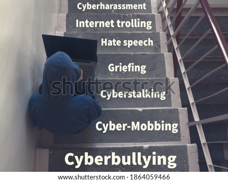Types of harassment against teenagers in cyber space. Cyber Mobbing, Internet trolling, Griefing, Hate speech, Cyberstalking, Cyberharassment, Catfishing, Outing, Dissing, Fraping, Cyberbullying. Stockfoto ©