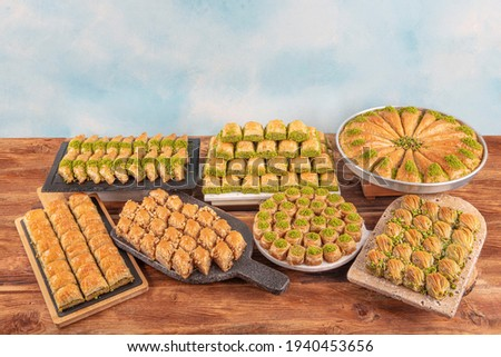 Types of Turkish baklava. Baklava pastry dessert. Traditional turkish dessert.