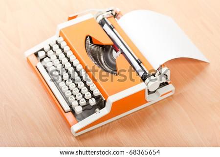 Typescript hand typing typewriter blank paper text