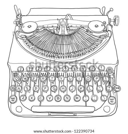 typewriter and paper line art