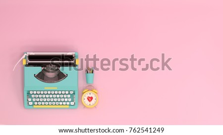 typewriter clock and pen top view on the table colorful education in front of pink wall lovely picture for copy space minimal fruit and object concept pastel colorful lovely picture art