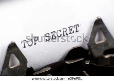 Typewriter close up shot, Concept of Top Secret
