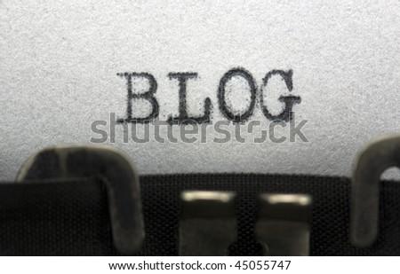 Typewriter closeup shot, concept of Blog