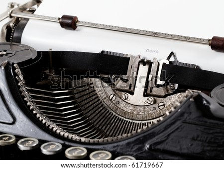 Typewriter closeup shot, concept of News