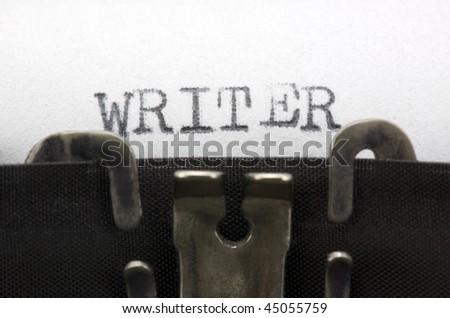Typewriter closeup shot, concept of writer