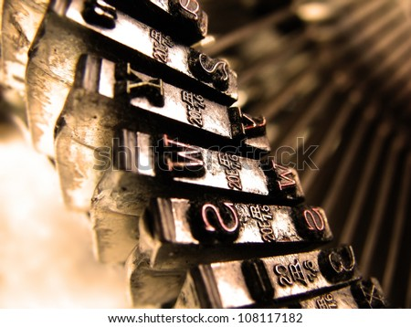 Typewriter/ Closeup view of old typewriter keys