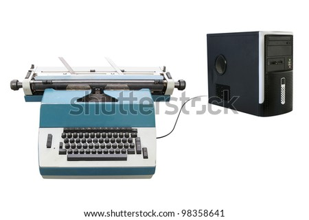 typewriter connected with a laptop