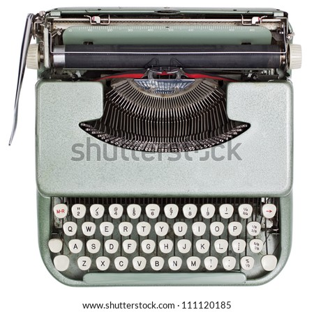 Typewriter from above isolated on white background with clipping path