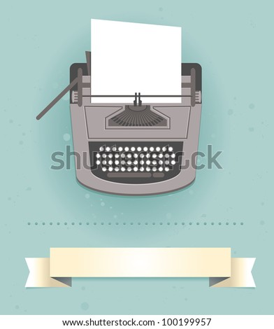 typewriter in retro style -  card