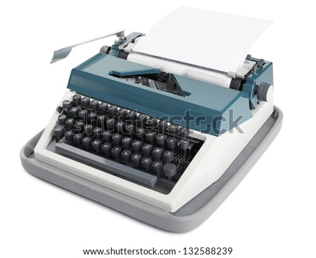Typewriter with blank paper isolated on a white background