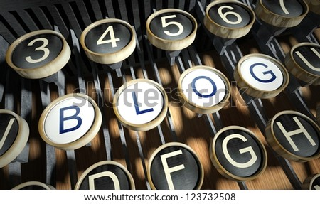 Typewriter with Blog buttons, vintage style