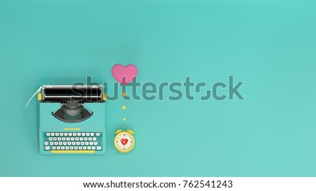 typewriter with heart clock on valentines day on the table colorful in front of lovely wall  picture for copy space minimal object concept pastel colorful lovely picture art