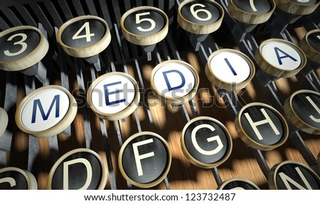 Typewriter with Media buttons, vintage style - stock photo