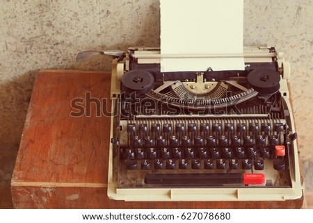 typewriter with paper sheet. Space for your text #627078680