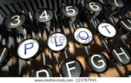 Typewriter with Plot buttons, vintage style - stock photo