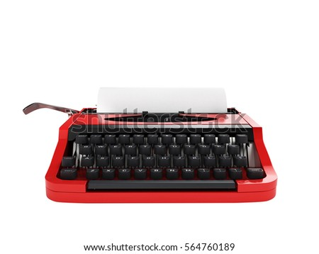 Typewriter with sheet of paper front view without shadow isolated on white background 3d