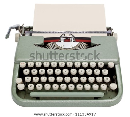 Typewriter with sheet of paper. Isolated on white background with clipping path
