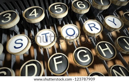 Typewriter with Story buttons, vintage style