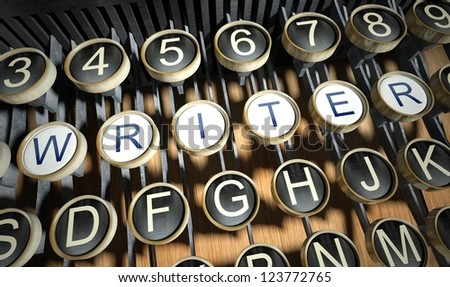 Typewriter with Writer buttons, vintage style