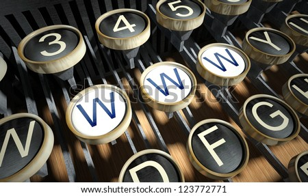 Typewriter with Www button, vintage style