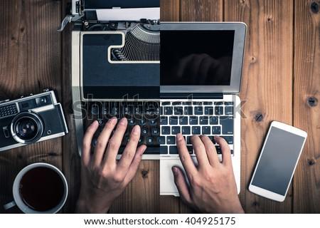 Typewriters and laptop
