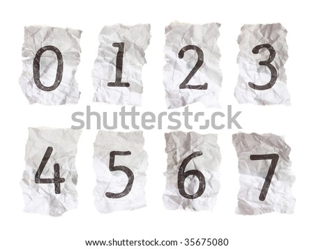 Typewritten numerals on crumpled paper. Each numeral taken individually on a 21 megapixel camera for maximum resolution.