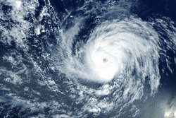 Typhoon from space near the coast. Elements of this image were furnished by NASA.