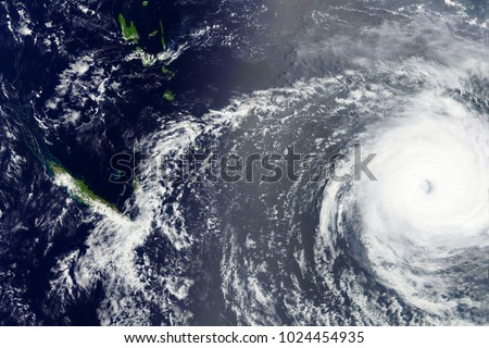 Typhoon Gita heading towards Tonga in February 2018 - Modified elements of this image furnished by NASA  #1024454935