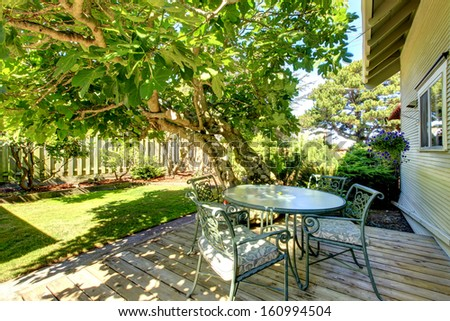 typical american backyard of the small old craftsman style home in