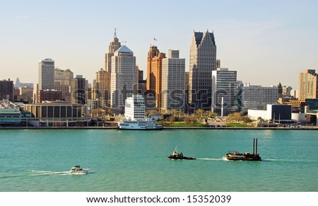 Typical American city skyline (Detroit, Michigan)