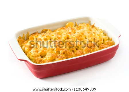 Typical American macaroni and cheese isolated on white background