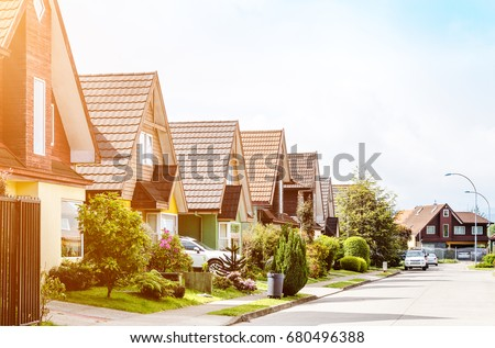 Typical american neighborhood for middle class #680496388
