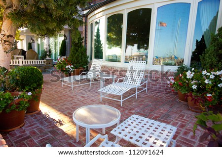 Typical American patio with outdoor furniture