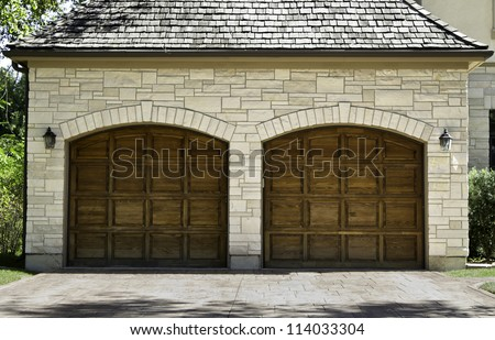 Typical american two car wooden oak garage